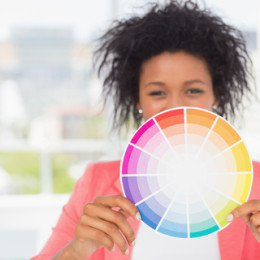 woman with color wheel
